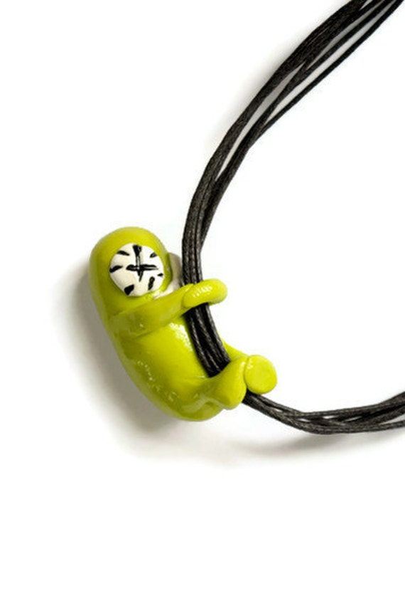 Handmade Polymer Necklace, Monster Necklace, Hanging on
