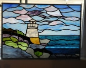 Sale - Stained Glass Light House Panel - Take an additional 25% Off Use coupon Code May25