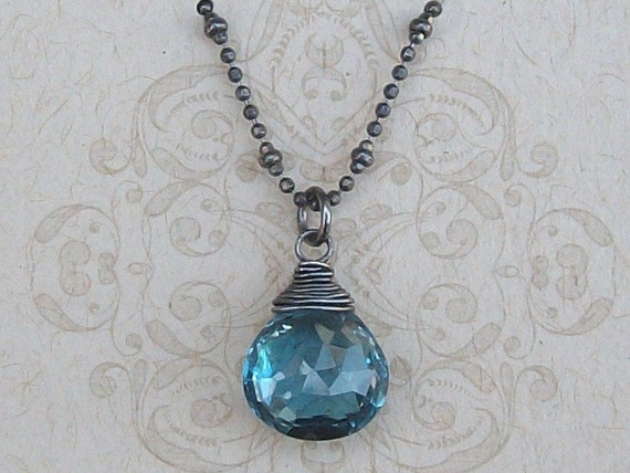 AAA London Blue Topaz on Oxidized Sterling Silver Necklace