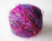 Silk Handspun Fair Trade Multicolored Yarn - One Ball of 90 Yards