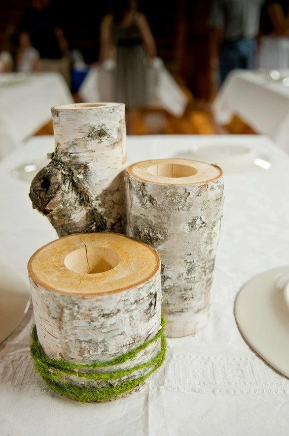 Birch wood centerpiece set of for weddings or cottage
