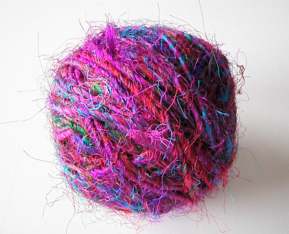 Silk Handspun Fair Trade Multicolored Yarn - One Ball of 90 Yards