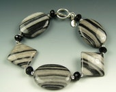 Black & Grey Silk Stone Marble, Faceted Onyx, and Sterling Silver Bracelet - 2096BD