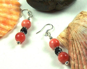 SALE Red Calcite and Onyx Earrings - 2067ED
