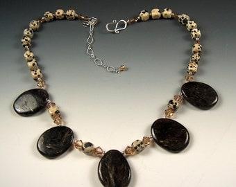 Sale! Rare Astrophyllite, Dalmation Jasper,  Light Colorado Swarovski Crystal, & Sterling Silver Necklace - 2097ND