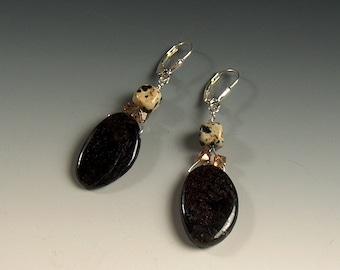 Sale! Astrophyllite, Dalmation Jasper,  Light Colorado Swarovski Crystal, & Sterling Silver Earrings- 2097ED