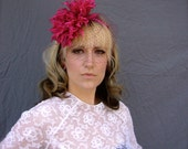 The Dahlia Headband in Fuchsia Pink with Veil Made to Order