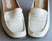 White Leather Loafers, Platform shoes, size 7 1/2, 1970s