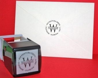 Self Inking Return Address Rubber Stamp - Circle