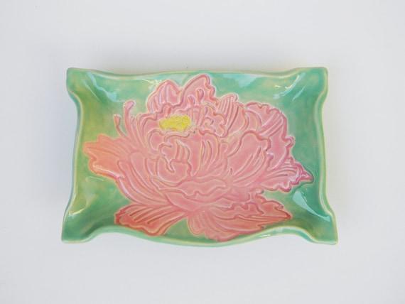 Soap Dish Pink and Mint Poppy trinket or sponge Holder