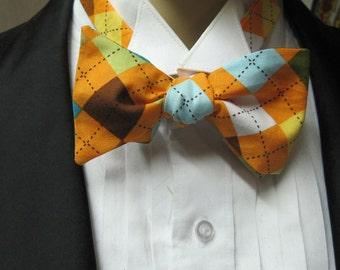 Skinny Bow Tie Orange Argyle