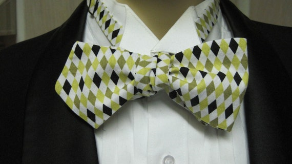 Retro Green Diamond Bow Tie Mad Men Style