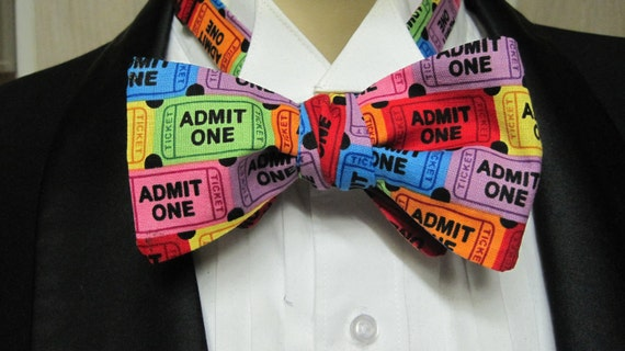 Admit One Movie Ticket Bow Tie