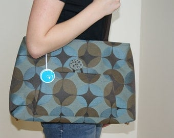 Medium Size Purse from Upholstery fabric with hand made polymer Clay Button.