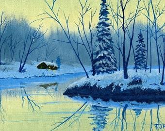 Cabin On Lake 6 x 8 ORIGINAL Thomas Justin Hoy