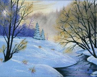 Misty Winter Stream 6 x 8 ORIGINAL Thomas Justin Hoy