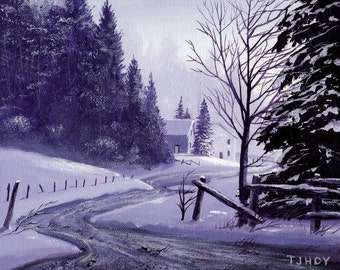Winter Town Road 8 x 10 ORIGINAL Thomas Justin Hoy