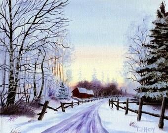 Frosty Sunrise  Original  8 X 10 ORIGINAL painting by Thomas Justin Hoy
