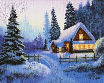 """Cottage in the Woods Original Painting 6""""x 8"""" By Thomas Justin Hoy"""