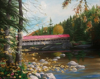 Covered Bridge In The Country 16 x 20 ORIGINAL Thomas Justin Hoy