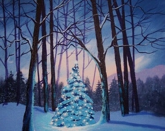 Christmas Tree In The Woods - Original painting