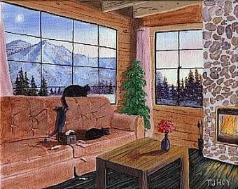 Three Cats In A Mountainside Cabin 8 X 10 ORIGINAL Thomas Justin Hoy
