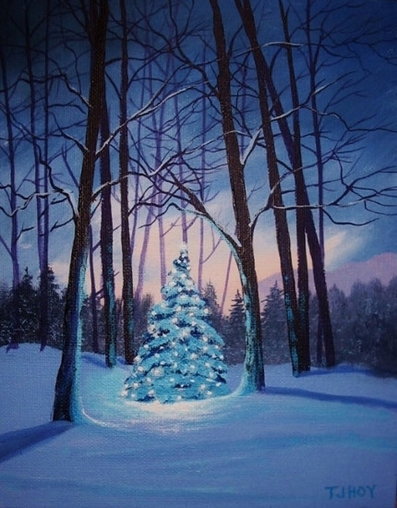 Christmas tree in the woods original painting