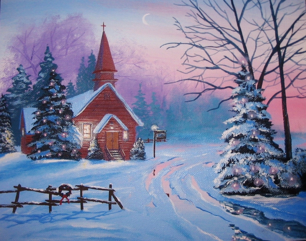 Church In The Country Christmas 8 X 10 Original Thomas Justin