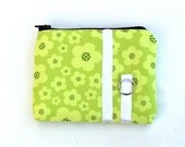 Zippered small coin purse in green blossoms - SALE
