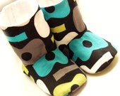 Baby shoes, boy or girl size 0-6 months, handmade in groovy guitars - SALE