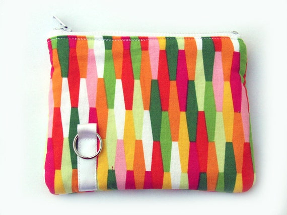 Coin purse, padded in geometric and yellow blossoms