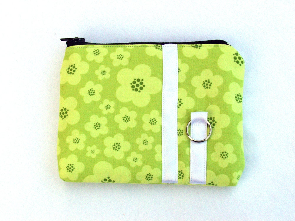 Zippered small coin purse in green blossoms SALE