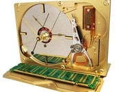 Striking Custom Painted Golden Hard Drive Clock, from a Recycled Hard Drive.