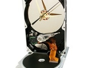 FREE SHIPPING! Upcycled Hard Drive Now a Clock, Accented with Controller Ribbon Cable.