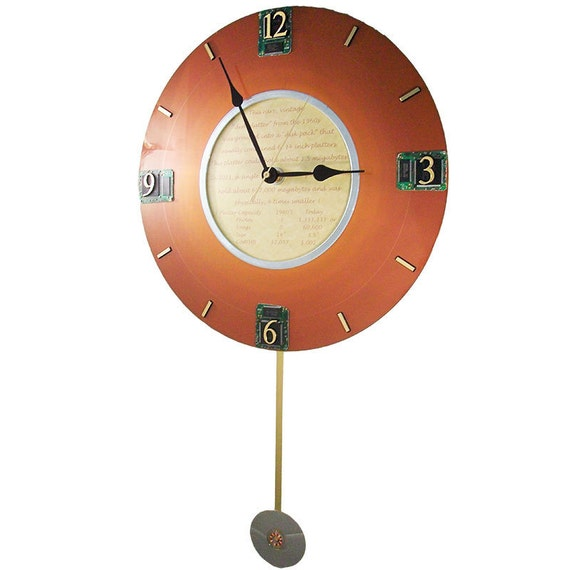 Vintage 1960s IBM Disk Platter with Head Crash, now a Fantastic Clock. Very Rare Disk Platter.
