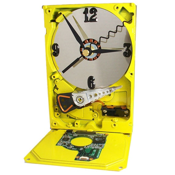 Glossy Yellow Computer Hard Drive Clock from Recycled Desktop Computer. (H)