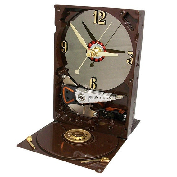 Got Coffee--Espresso Brown Glossy Computer Hard Drive Clock Great for any Coffee Lover.
