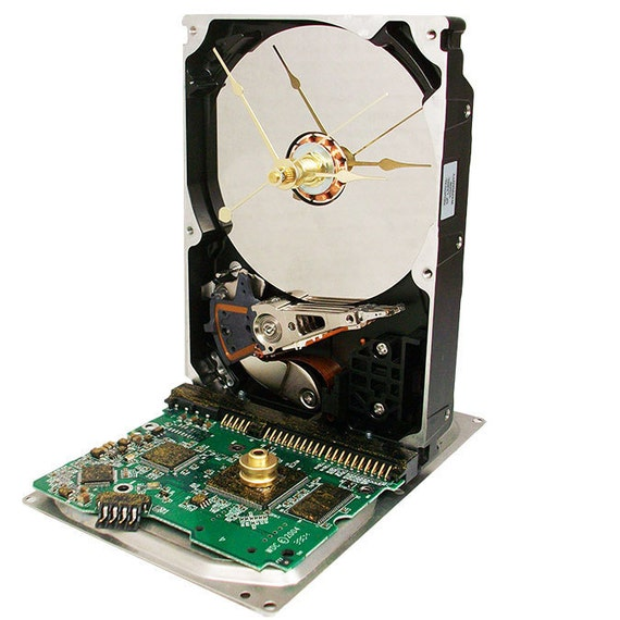 Golden Glitter Circuit Board Hard Drive Clock. (H)