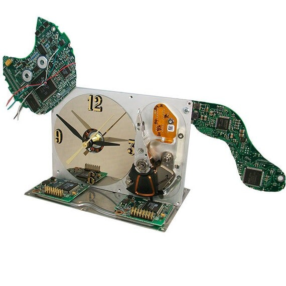 Meow...Computer Hard Drive Clock Transformed into a Cat, a Great Upcycle.