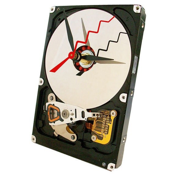 Unique Hard Drive Clock with Magnet Stand and Red ZigZag Hand. (H)