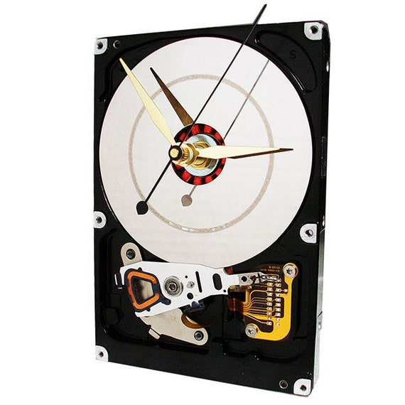 Hard Drive Clock with Head Crash Platter and Heavy Magnet Stand.