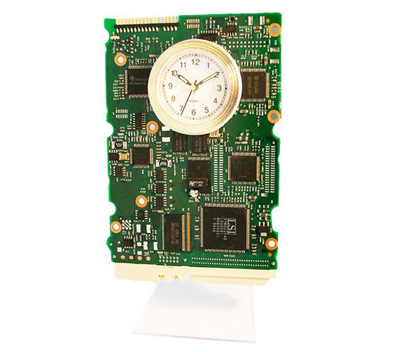 unique circuit board alarm clock from a recycled computer hard