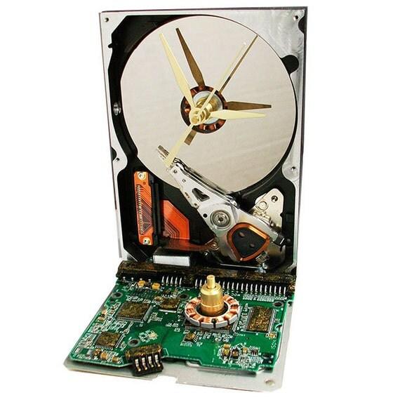 Golden Glitter Circuit Board Hard Drive Clock (H)