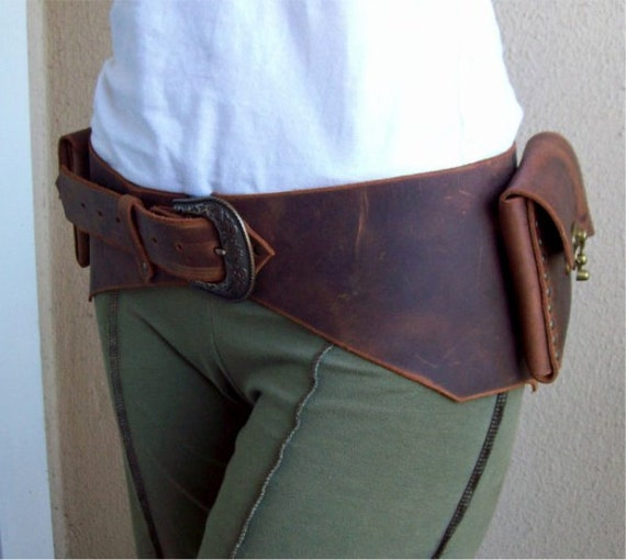 Reserved for delesqui -- Rustic Leather Pouch Belt