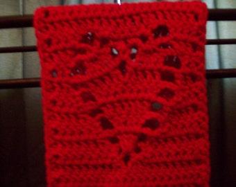crocheted heart scarf