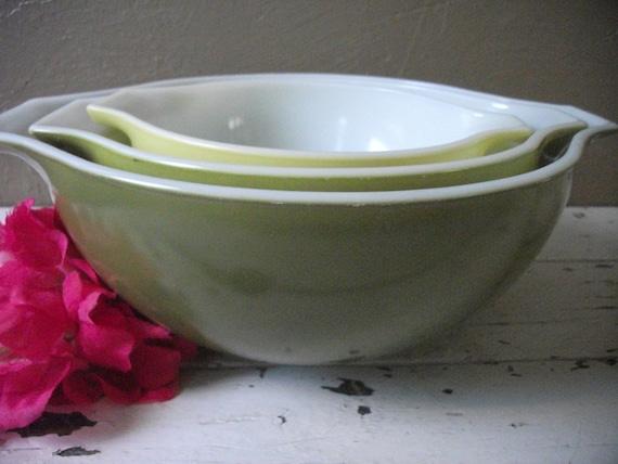 Set of Three Green Pyrex Bowls