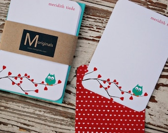 Personalized Note Cards - Valentine Owl