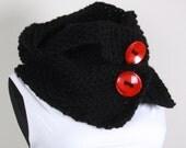 Knitted neckwarmer,Neckwarmer ,Knitting, Black ,red button