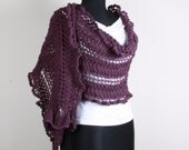 Knitting Shawl, Purple,Stole ,Perfect for Spring Summer,
