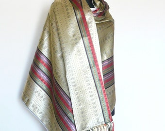 Traditional Woven Golden Large Shawl